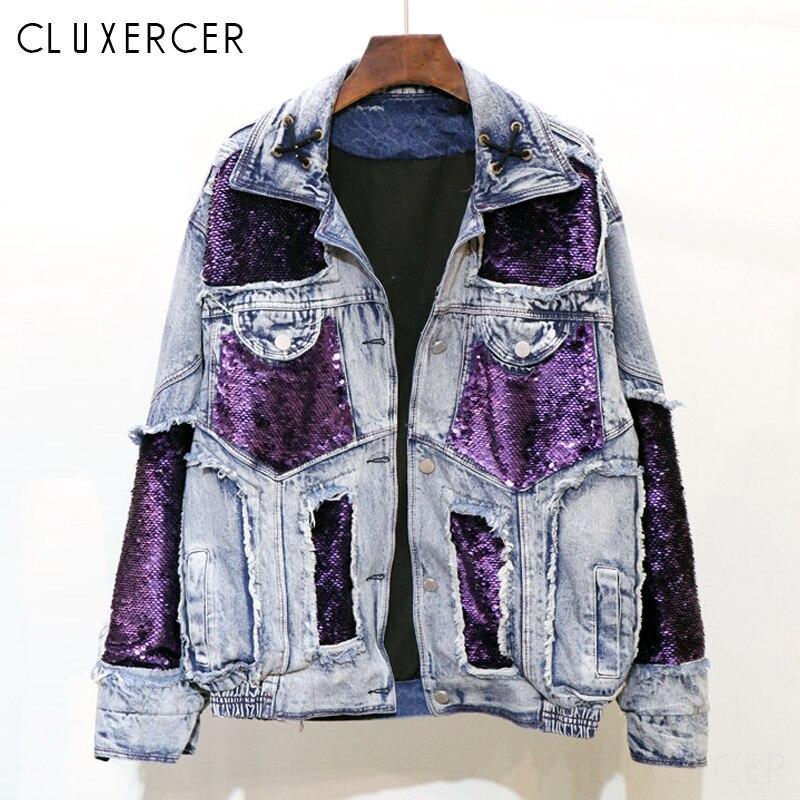 Purple Sequins Spliced Jean Jacket Women 2019 New Streetwear Style Cool Denim Jackets Casual Harajuku Loose