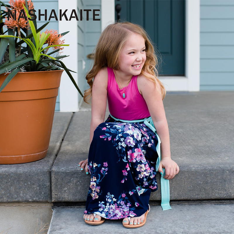 HTB17RpSajzuK1RjSspeq6ziHVXaI - NASHAKAITE Mother daughter dresses Floral Printed Long Dress Mommy and me clothes Family matching clothes Mom and daughter dress