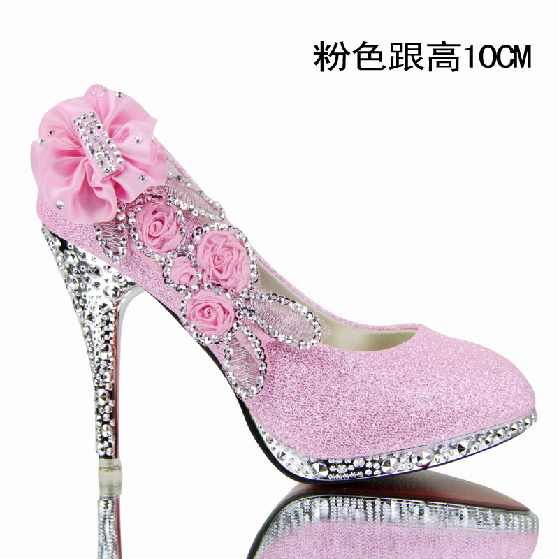 2014 New Crystal Shoes Women Wedding Red Bottoms Platform Wedge High Heels Sexy Woman Pumps Ladies Pointed Floral In Womens From On