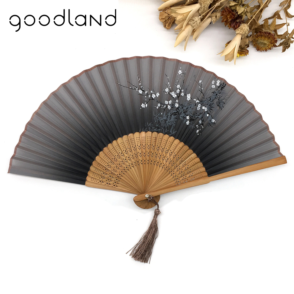Gratis frakt 1 stk Vintage Kinesisk Spun Silk Blomsterutskrift Hand Fan Folding Hollow Carved Hand Fan Event & Party Supplies
