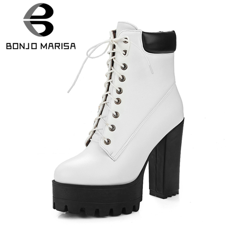 4c6fb0f138 Detail Feedback Questions about BONJOMARISA 2019 Winter Big Size 34 43 mixed  color Women Platform Ankle Boots High Heels lace up Boots Warm Fur Shoes  Woman ...