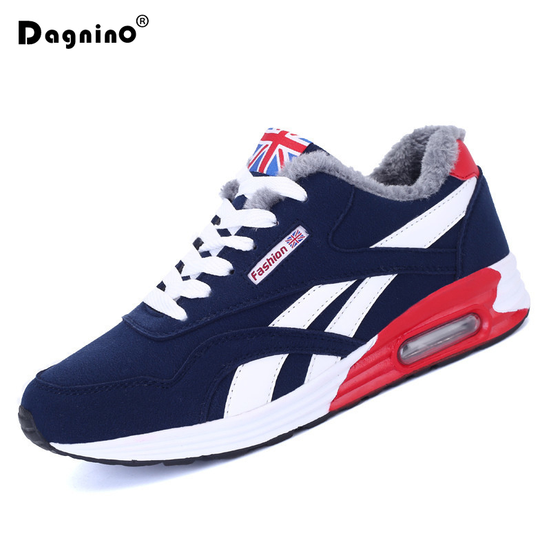 DAGNINO Mens Casual Shoes Autumn Cool&Winter Warm Casual Shoes 2018 Flats Sneakers Winter Fur Snow Boots For Men Zapatos Hombre