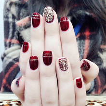 Elegant 24PCS/set Wine red+champagne big sequins finished False nails,Middle-long size full nail tips Patch lady art tool bride