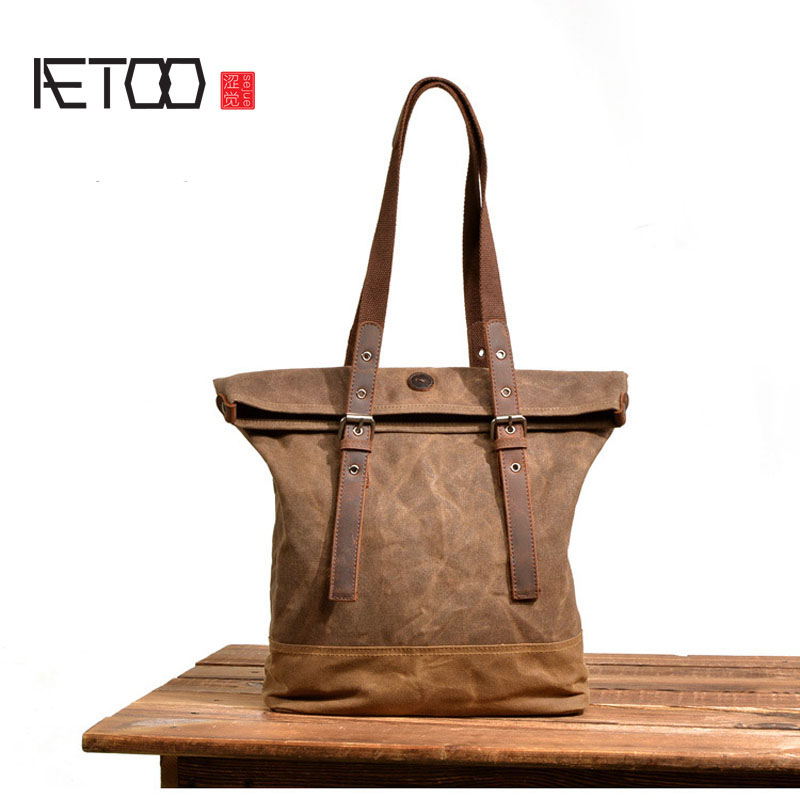 AETOO Europe and America oil wax canvas handbag retro shoulder Messenger bag women large capacity portable shopping bag simple aetoo women retro shoulder bag fashion handbags europe and america shoulder bag head layer cowhide mad horse shopping bag