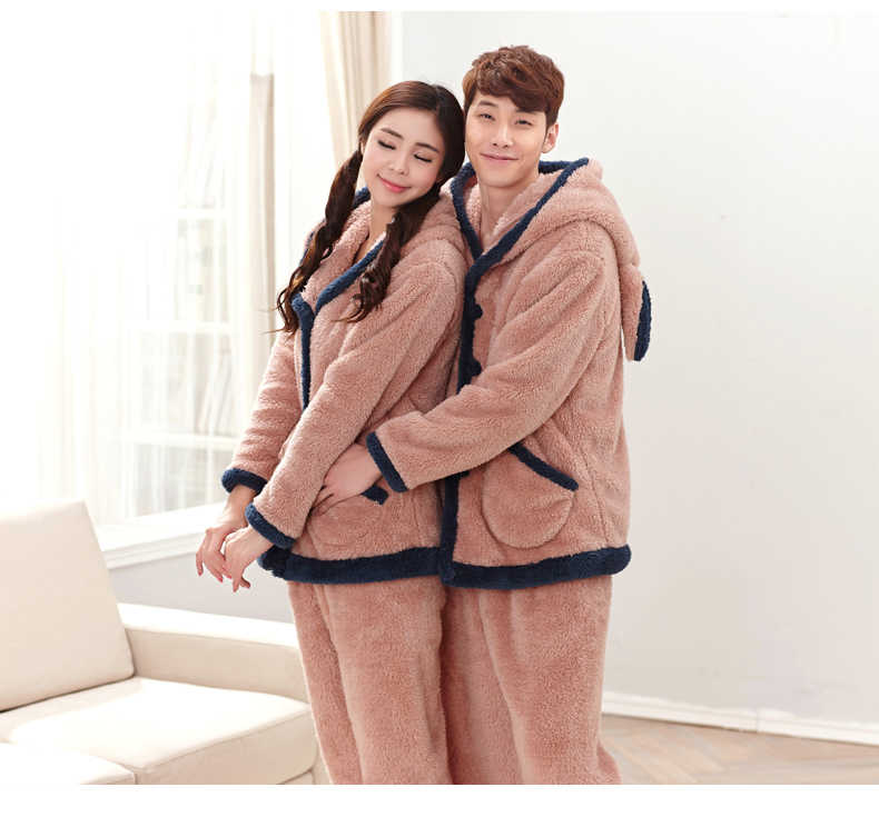 b1402842f ... Long-Sleeve Couple Coral Fleece Pajamas Bear Winter Flannel Warm Love  Mens Pyjamas Women's Sleep