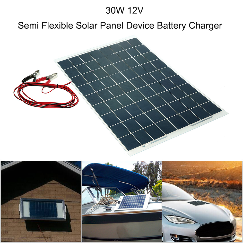 Car Accessories 30W 12V Semi Flexible Solar Panel Device Battery Charger Car Styling