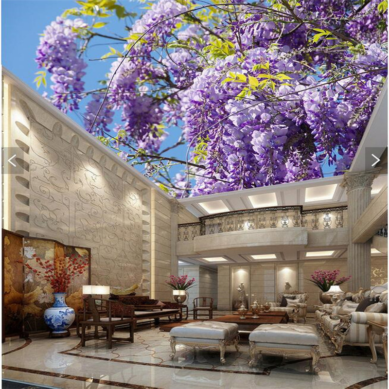 Murals Wallpaper Modern Art Blue Sky Lavender Wisteria Top Restaurant Living Room Home Decor Ceiling Large Wall Mural In Wallpapers From