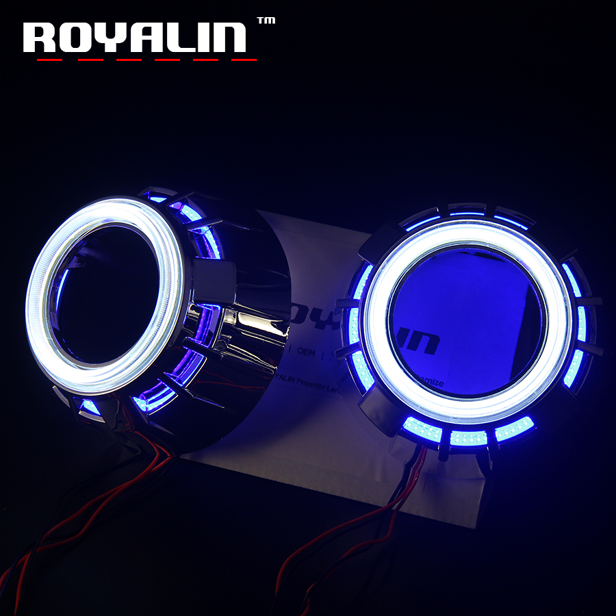 ROYALIN COB LED Bi Lens Shrouds Double Angel Eyes Halo Rings White Red Blue Yellow for Xenon Projector Lens H1 DRL Car Lights