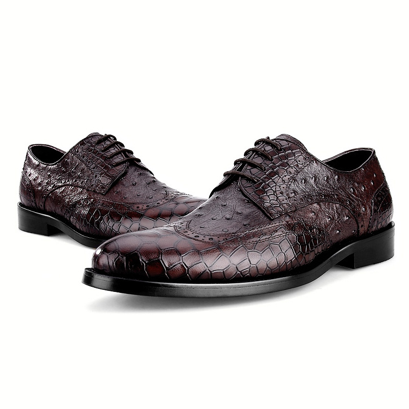 be6f651ce44bc US $82.43 25% OFF|Crocodile Grain Coffee / Black Oxfords Business Shoes  Genuine Leather Wedding Shoes Male Social Shoes-in Formal Shoes from Shoes  on ...