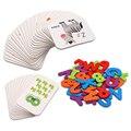 Детские буквенно-цифровые Обучающие карты-головоломки ярких цветов с двусторонней печатью Обучающие слова Монтессори учебные пособия