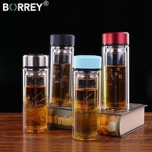 BORREY 300ML Durable Glass Water Bottle