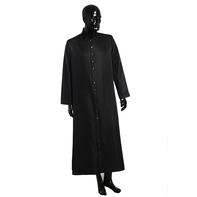Clergyman Costume Medieval Wicca Pagan Ritual Clergy Negru Cassock Roman Ortodox Single breasted Button Long Tabard Robe Suit