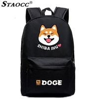Cute Dog Printing Backpack School Bag Cartoon Anime Shiba Inu Student Mochila Book Bag For Boy Girls Laptop Travel Bagpack Black