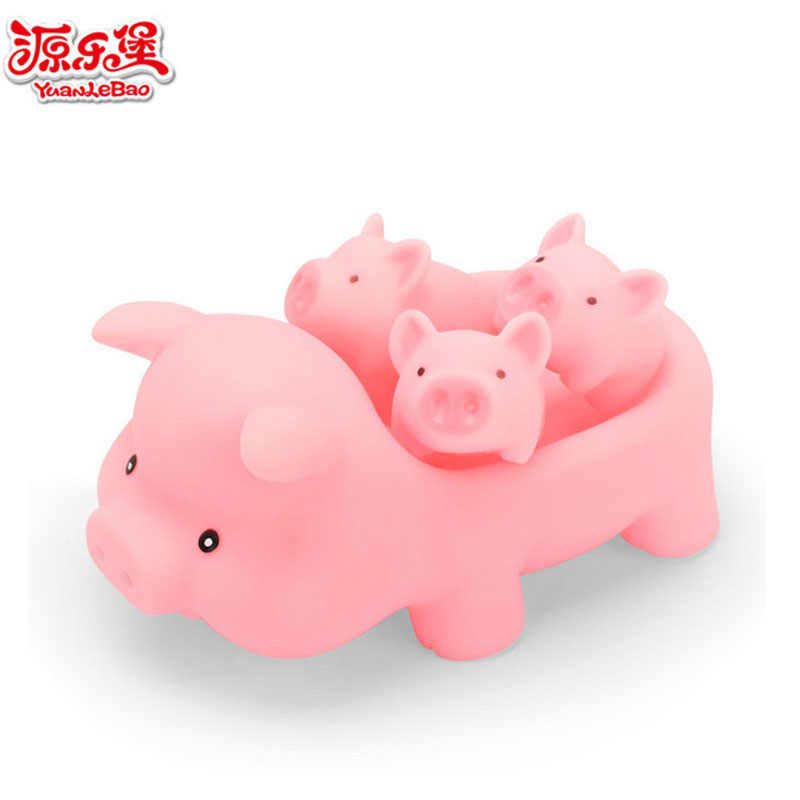 4 pçs/lote Rosa Bonito Piggy Brinquedo Do Banho Do Bebê Squeaky Som Squeeze Dabbling Natação Banheiro Mini Kids Brinquedos Brinquedos de Água Flutuante