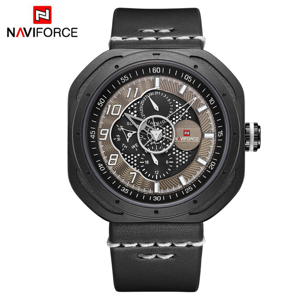Naviforce Leather Mens Watch Auto Date Week Military Watch Fashion Business 24 Hour Calendar Wrist Watches Montre Homme 9141 mike davis knight s microsoft business intelligence 24 hour trainer