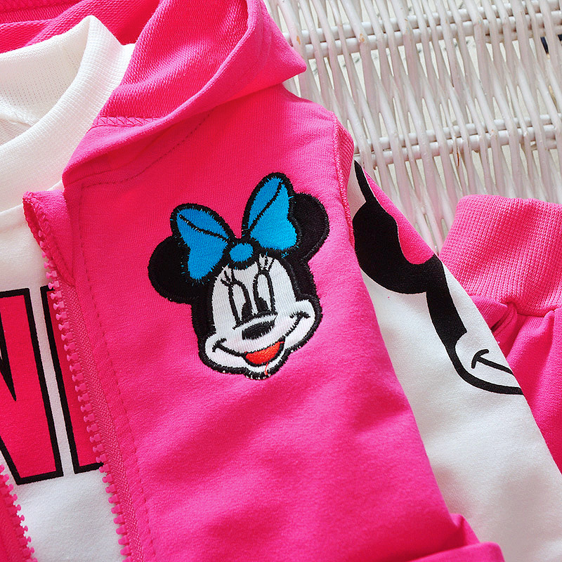 Baby Girls Minnie Mickey Clothing Set Children Spring Autumn 3Pcs Sets Hooded Jacket Coat Vest Pants Suits Kids Cartoon Clothes 6