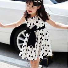 Cute Kids Toddlers Girls Sundress Polka Dots Chiffon Tunic Bowknot Belt Dress 2015 summer new stylish kids toddler girls princess dress sleeveless polka dots bowknot dress top quality cute
