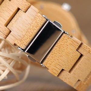 Image 5 - BOBO ptak kobiety zegarki Relogio Feminino ełk grawerowane twarzy bambusa drewniane zegarki luksusowe marki ręcznie drewna pasek C dE04