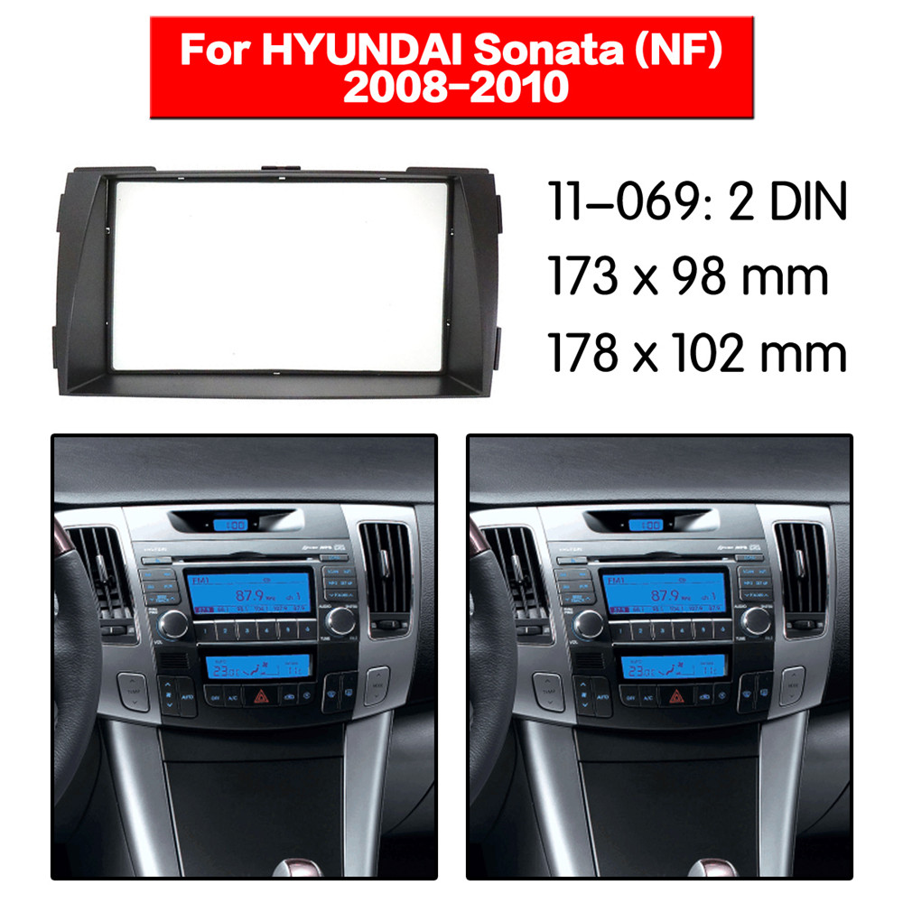 Sonata 2009-2010 Double DIN Car Stereo Radio Dash Install Kit With Wire Harness