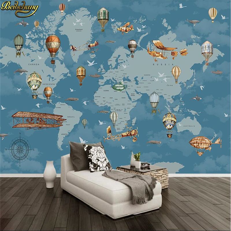 Beibehang Cartoon World Map Photo Wallpaper For Children's Room Coffee Painting 3D Mural Wallpapers For Living Room Decoration