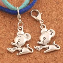 Heart Love Mouse Mice Lobster Claw Clasp Charm Beads 16.5x33.8mm 26pcs Antique Silver Jewelry DIY C183