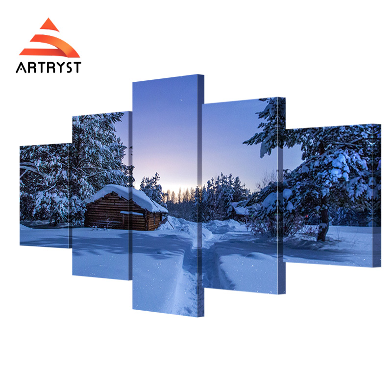 5 paneļu moduļa sienas mākslas darbs Ziemas nakts sniega mājas - Mājas dekors - Foto 1