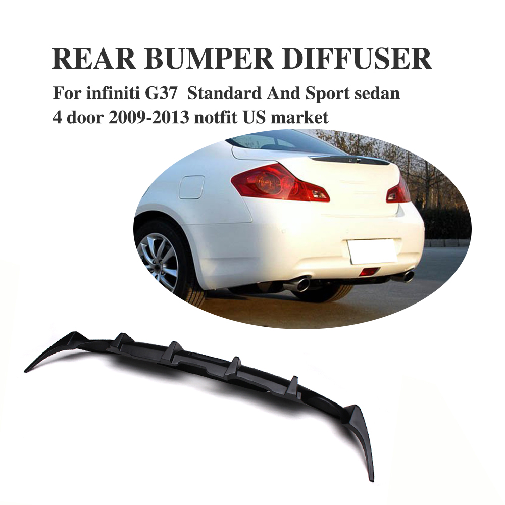FRP Black Rear Bumper Exhaust lip Diffuser for Infiniti G37 Base Sedan 4-Door 2009-2013 Not for usa market