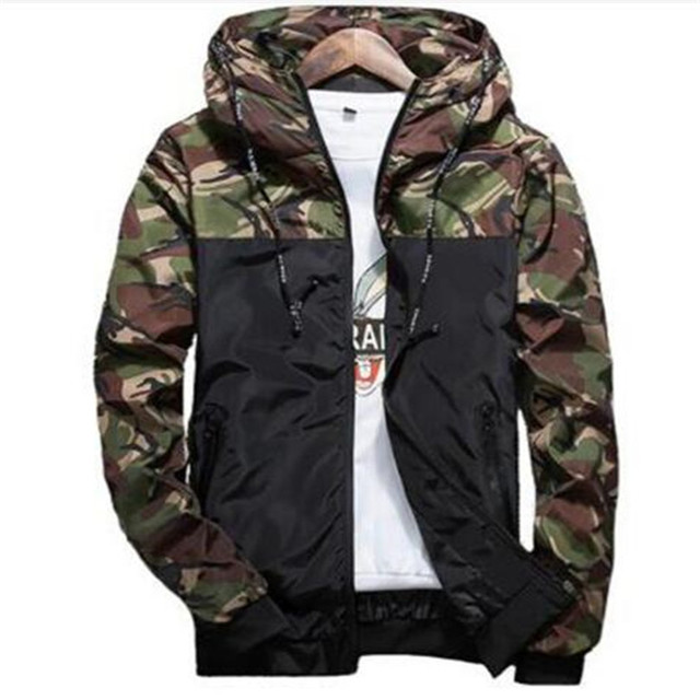Mùa xuân Mùa Thu Mens Ngụy Trang Giản Dị Hoodie Jacket Nam Quần Áo Không Thấm Nước Nam Áo Gió Coat Nam Outwear