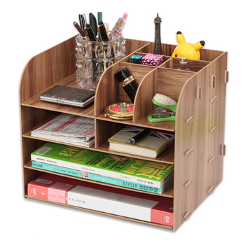 Wood file frame DIY portfolio file rack wood desktop receiving multi-layer file tray  document trays Stationery holder