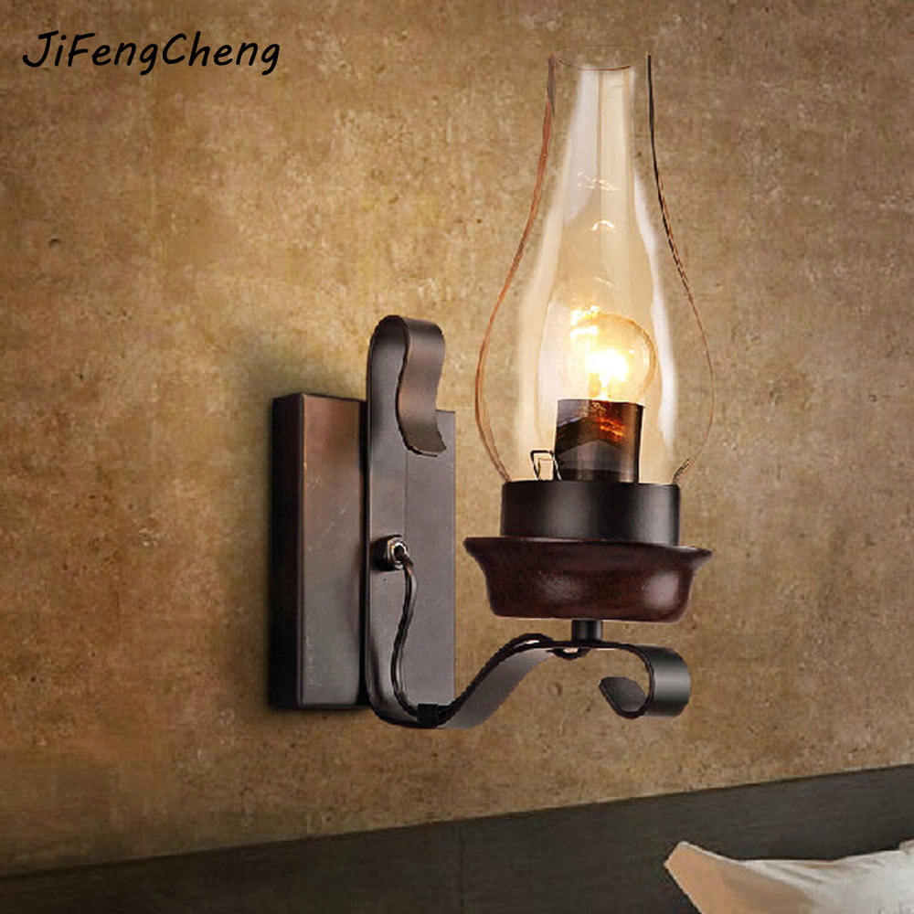 New In 2017 American Country Bar Cafe Led Wall Lamp Dark Wood Color Antique Bronze Lamp 110V~220V Painting Scrub Wood Wall Light ware r in a dark dark wood