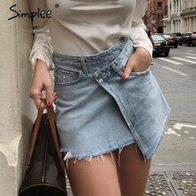 Simplee أنيقة الدنيم تنورة المرأة الصيف ملابس الشارع الشهير قصيرة تنورة صغيرة الإناث الصلبة زر عالية الخصر تنانير للنساء