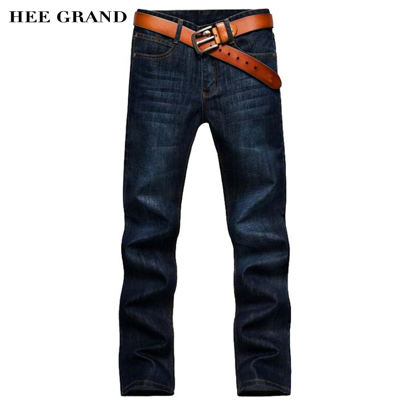 HEE GRAND Men's Jeans Without Belt Casual Straight Slim Mid-Waist Classic Dark Blue Pants 28-40 Big Size MKN569