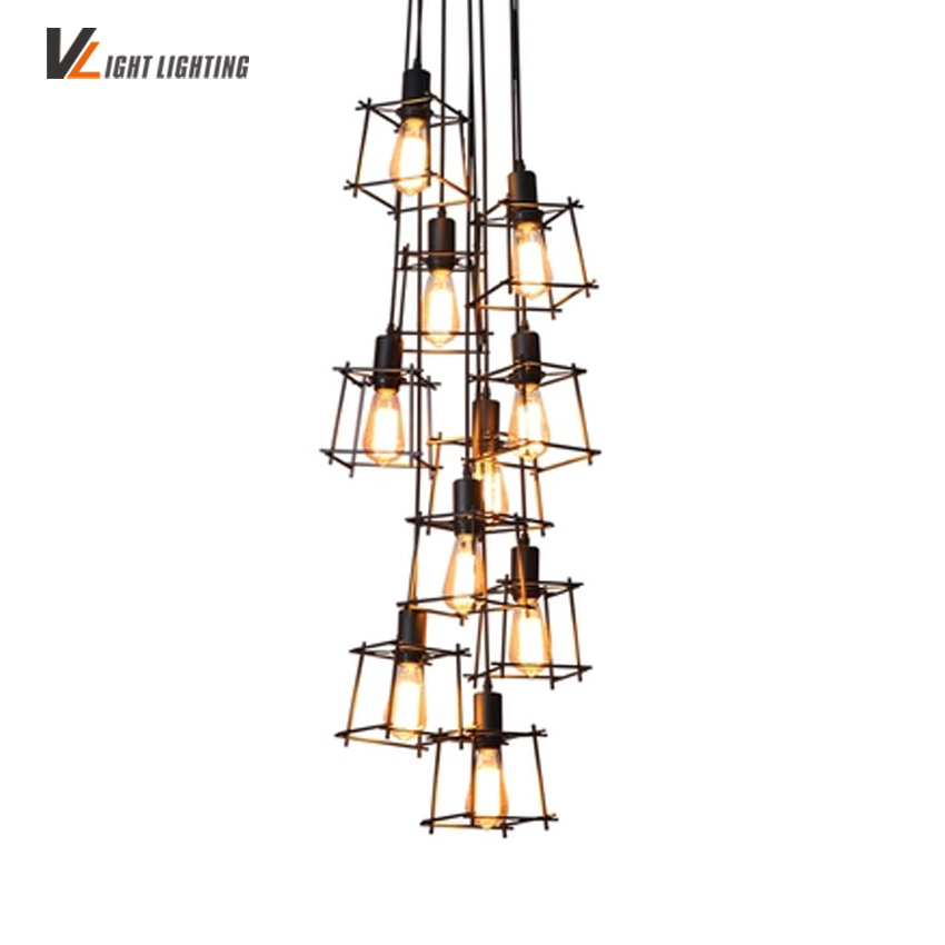 Industrial Loft Vintage pendant lights Personality Wrought Iron lights nordic E27 Edison lamp cage lamp lighting fixtures modern edison personality industrial lighting counter lamps cage vintage pendant lights pendant lamp edison bulbs ac 110 220v