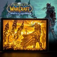 LED Table Lamp Paper Carving Night Lights World of Warcraft Sylvanas Windrunner Bedroom Bedside Night Lights Decor Lamp Gift