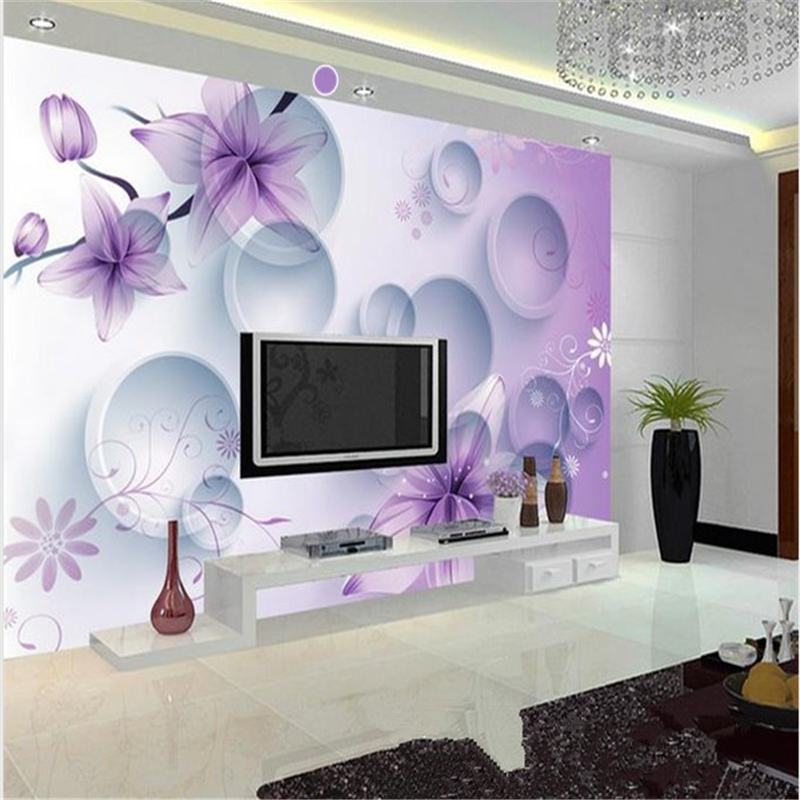 purple wallpaper living room custom wallpaper 3d stereoscopic purple flower tv 15096