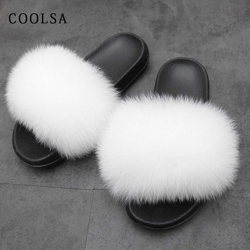 Summer Women Fur Sandals Real Fox Fur Slippers Female Furry Solid Indoor Flip Flops Casual Beach Sandals Soft Fluffy Fur Slides