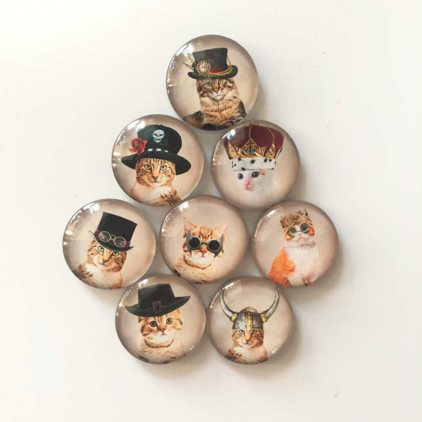 Miễn phí vận chuyển (8 cái/lốc) Dễ Thương Phim Hoạt Hình Mèo Vòng Glass Tủ Lạnh Magnet Đáng Yêu Cát Animal Tin Nhắn sticker Trang Trí Nội Thất Món Quà bên