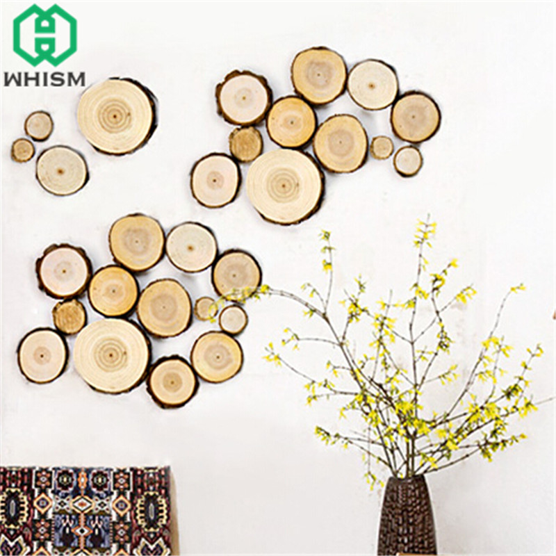 WHISM 30PCS Round Pine Wood Slices Kids Painting Ornaments Table Number Cards Wedding Gift Tags Christmas Party DIY Decoration