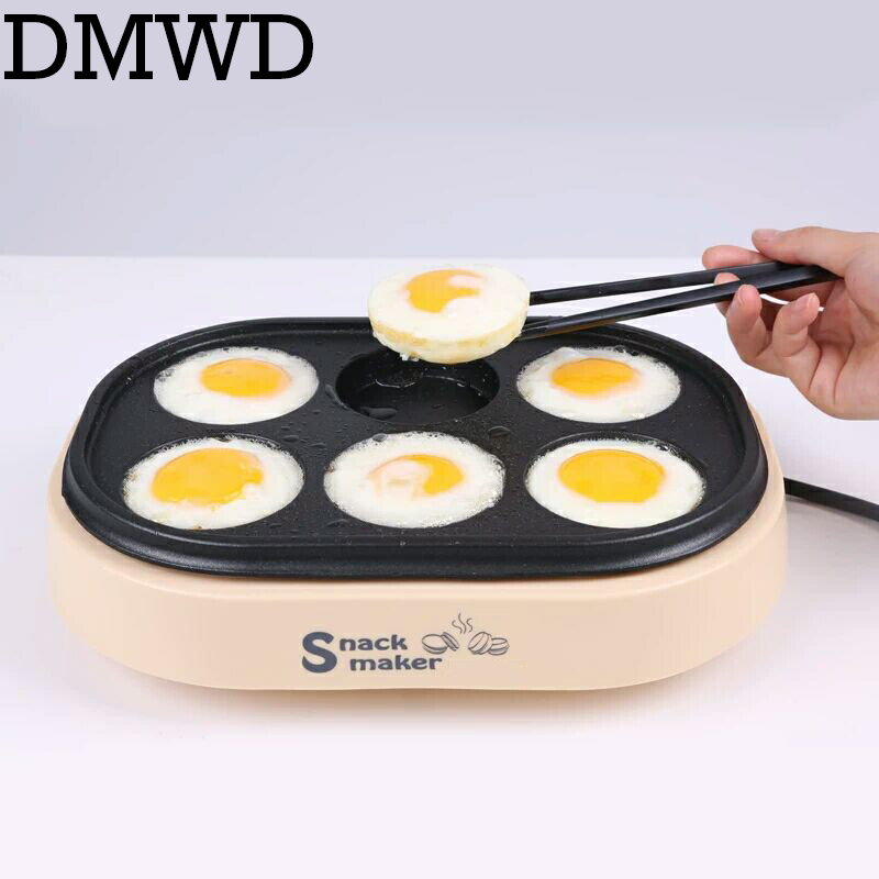 DMWD Electric Eggs Roasted Hamburger Machine Red Beans Cake Crepe Maker MINI Pie Pancake Baking Fried Egg Omelette Frying Pan EU