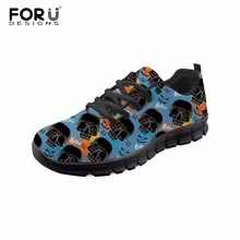 FORUDESIGNS Shoes Woman Cool Skull Print Casual Women Sneakers Flats Comfortable Mesh Ladies Shoes Lightweight Zapatos Mujer forudesigns light comfortable mesh shoes for women flats breathable mesh shoes woman pretty leaf printed women s sneakers mujer