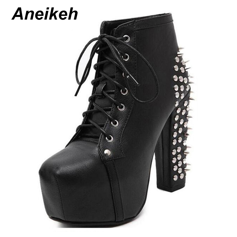 Aneikeh Women Rock Punk Spikes Rivets Ankle Boots Biker Lita Platform Chunky Block Ultra High Heel Bota Shoes High Top D- 456-3 punk style chunky heel and rivets design women s ankle boots
