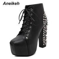 Aneikeh Women Rock Punk Spikes Rivets Ankle Boots Biker Lita Platform Chunky Block Ultra High Heel Bota Shoes High Top D 456 3