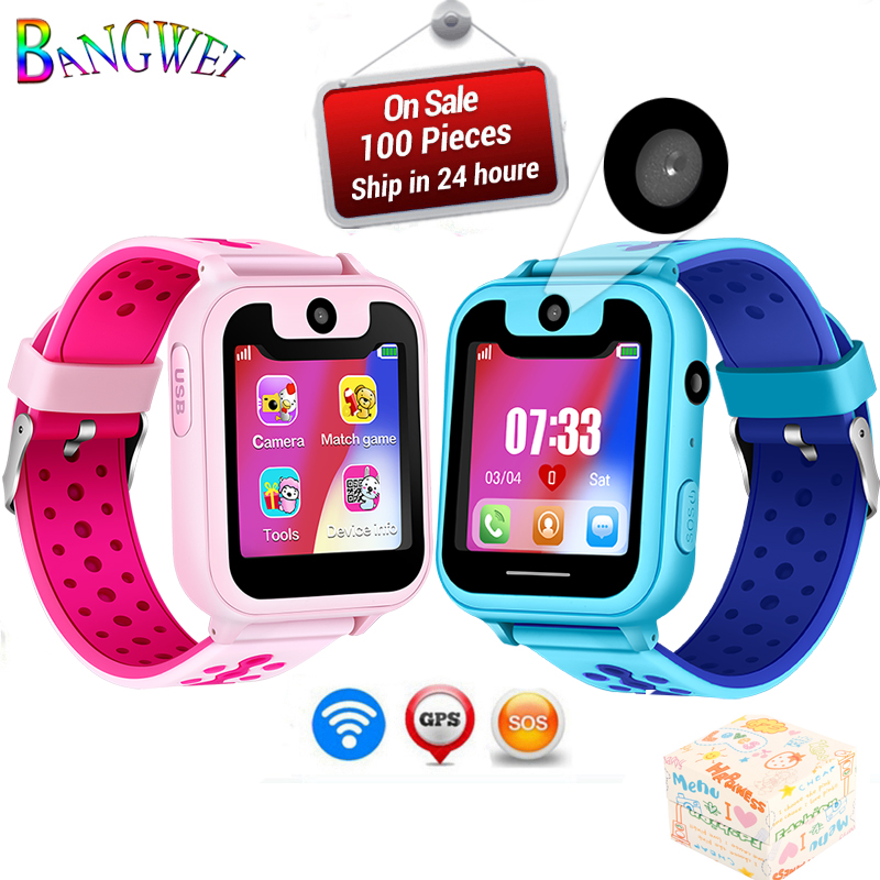 BANGWEI Children Phone Watch Child SOS Emergency Phone Voice Chat LPS Positioning Remote Monitoring Lighting Kid Smart Watch