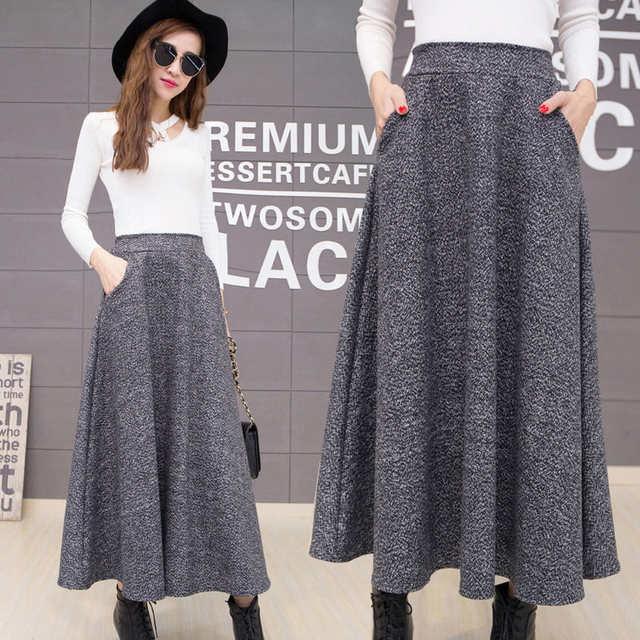 f662d0301b4 placeholder Осенняя и зимняя длинная юбка женская винтажная шерстяная юбка  с высокой талией Saia Faldas шерстяные плиссированные