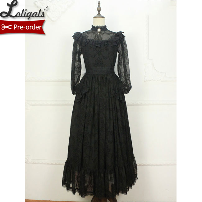 Custom Tailored Gothic Long Sheer Sleeve Lace Dress Ruffled Illusion Neck Maxi Dress by Miss Point
