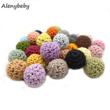 Wooden Teether 16mm Polychrome Crochet Beads Food Grade Chew DIY Crafts Accessories Baby