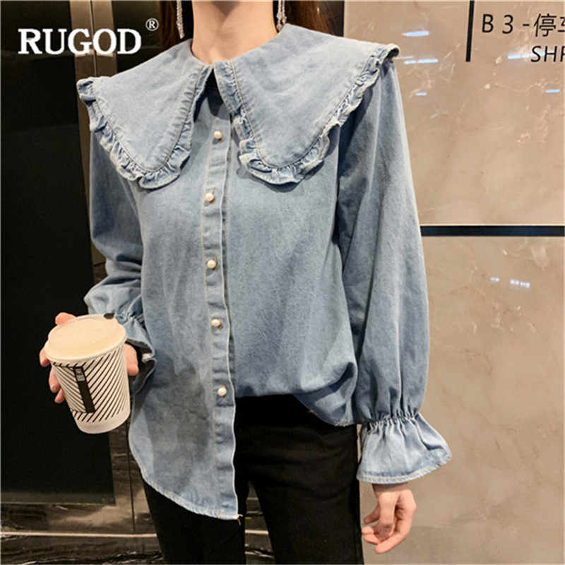 50203a4a RUGOD Women Elegant Sweet Denim Blouse 2019 Spring Casual Single Breasted  Long Flare Sleeve Shirt Female