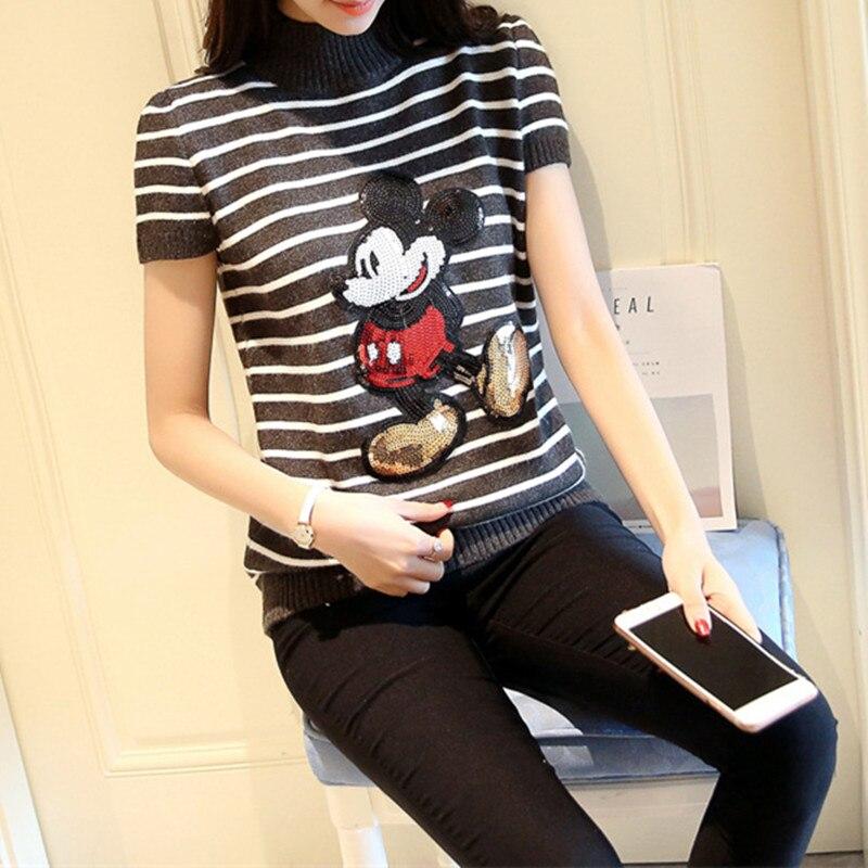 De las mujeres Del Verano de Mickey Suéteres de Manga Corta Lentejuelas Camisa d