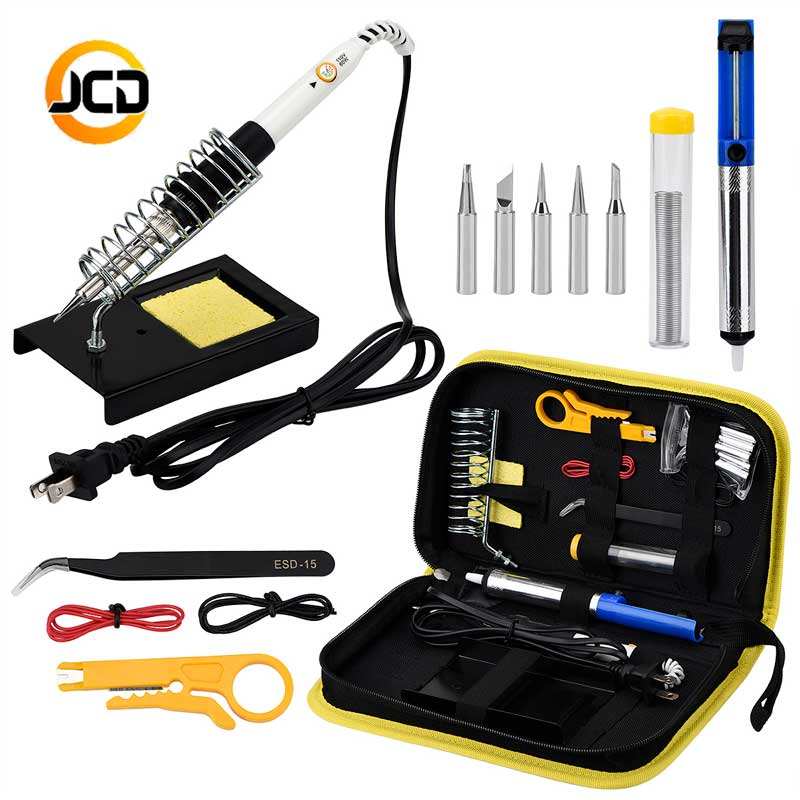 JCDsolder 60w 220v Adjustable Temperature Soldering Iron Kit yellow set +5 Tips+Desoldering Pump+Soldering Iron Stand цена