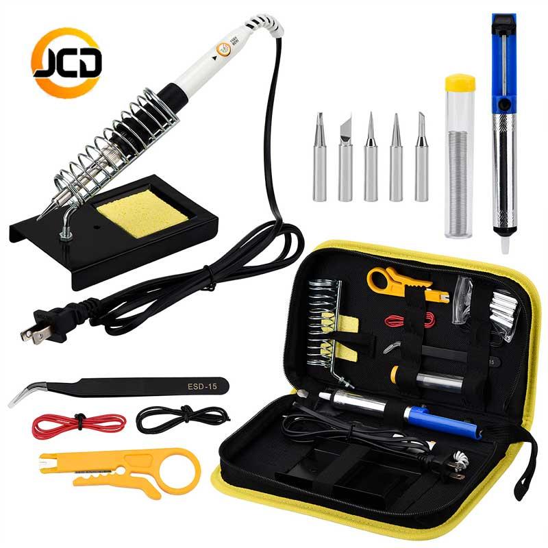 JCDsolder 60w 220v Adjustable Temperature Soldering Iron Kit  Yellow Set +5 Tips+Desoldering Pump+Soldering Iron Stand